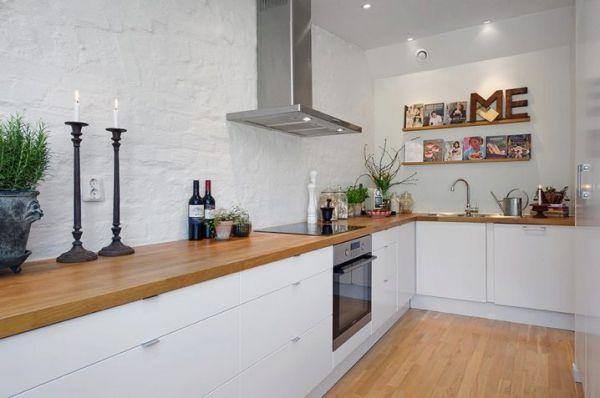 Интерьер кухни без верхних шкафов фото