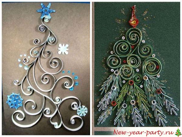 Открытка на новый год из квиллинга елка, знак дружбы необычные